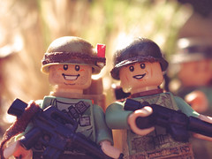 Smile for the camera, boys! (Kyle Hardisty) Tags: california lighting macro brick field grass animal rock canon kyle photography war rocks arms lego fig outdoor lakes mini vietnam dirt mammoth marlboro custom twigs depth m16 nam minifigure 2016 brickarms hardisty