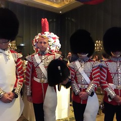 Welsh Guards at the Queen's Birthday Party, Bangkok 2016 (rhonddalad) Tags: queensbirthdayparty bangkok erwanhotelbangkok britisharmy guardsmen thailand hotel military bearskins militaryuniforms soldiers