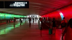 Concourse A, Detroit Metro, Romulus, MI, 2016 (Tom Powell) Tags: 16x9 detroit detroitmetro romulus michigan appleiphone6 red green reflections 2016