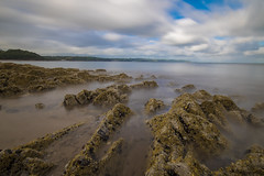 The timeless beach (Crimmy5) Tags: saundersfoot tenby pembrokeshire wales uk bach sea sky horizon clouds blur smooth silky long exposure rocks rocky beach