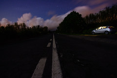 Pit Stop (free3yourmind) Tags: pit stop night nightsky stars azores saomiguel road lines car clouds trees