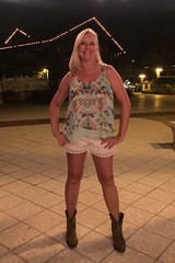 Downtown (WindJammer Photo) Tags: july 2016 iphone florida vacation thevillages downtown square shorts cowboyboots boots smile beautiful beauty gorgeous blonde wife