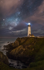 Search for the Core (Darkness of Light) Tags: pigeon point lighthouse pacific ocean highway 1 pch fog foggy night milkyway stars mars