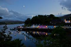 Portree Harbour (wjj86) Tags: skye scotland port harbour portree lights moon dusk boats