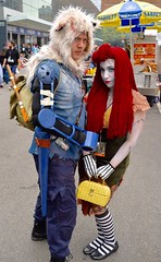 DSC_0345 (Randsom) Tags: nycc 2016 newyorkcomiccon nycomiccon javitscenter october nyc newyorkcity cosplay costume fun comicbooks comicconvention raggedyann wolf facepaint sally nightmarebeforechristmas couple purse stripes wig red gloves headdress redlips