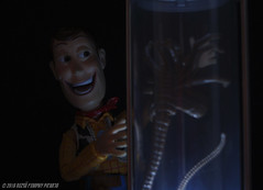 Something wicked this way comes... (Rezso Kempny) Tags: kaiyodo revoltech legacy disney pixar toy story woody tom hanks neca aliens creature facehugger stasis chamber twilight
