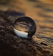 (donna leitch) Tags: lake water sunset crystal ball macro glass round circle