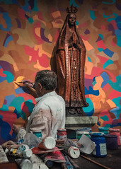 F3970 ~ Art restoration process... (Teresa Teixeira) Tags: artrestorationprocess artist painter altar church teresateixeira