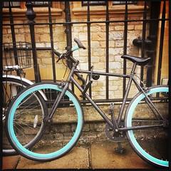 Green (breakbeat) Tags: hipstamatic oxford instameet instagrammeetup photowalk city hipstamaticapp vehicle bike tire rim green mint wheel bicycle gate fence