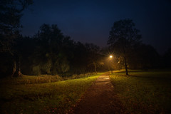 Kleiner Park in Altenberg (videamus) Tags: abendstimmung im oktober 2016 odenthal altenberg park bergisches land weg nacht night lich und schatten rasen bank ruhe stille ausruhen erholung unheimlich baum laterne nebel