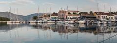 Fiskardo Panorama (Maria-H) Tags: harbour yacht boats dusk fiskardo greece gr ionian islands panasonic gh4 dmcgh4 1235 panorama