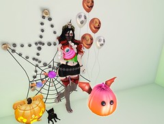 Post #1774 ( =^^=) Tags: halloween pinkatude fashion blog secondlife sashakitteh wildrose makeup applier hud scary blood bloody pumpkin cat kitty candle dress jewelery coven nails decorations skull eye eyeball cupcake pink black green orange wings headband ghosts balloon jack boo
