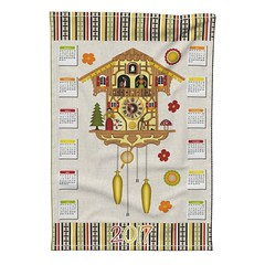 Cuckoo_Tea_Towel_Roostery_SE (vannina_sf) Tags: tea towel roostery spoonflower cuckoo calendar 2017 specialedition kitchen deco clock