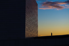 (Svein Skjåk Nordrum) Tags: blue roof sunset shadow sky color building silhouette yellow oslo wall architecture dark walking opera bright vivid oslooperahouse