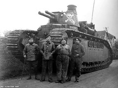 "The French Char 2C ""Poitou""(Poitou) and part of the crew, 1940.<br />All the crew of this tank consisted of 12 people.<br />Combat weight of 75 tons, was released only 10 pieces"