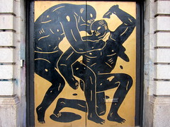 KNIFE FIGHT Cleon Peterson (Eugene Gannon) Tags: guesswherenyc doorway guessed nakedmen knifefight menwrestling cleonpeterson eugenegannon gszguessed eugenegannonportfolio nakedmenfighting garretzieglerguessed
