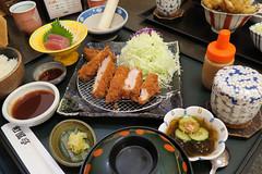 Wafutei - Tonkatsu set (Nelo Hotsuma) Tags: food hot art japan soup miso store salad asia iron rice wind beef sashimi sesame traditional restaurants peaceful bowl dressing pork cabbage daikon  okinawa taste  cutlet culinary skillet tonkatsu raddish wafutei