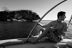 Barney, the scientific intern, on the boat ride to Moramba Bay.