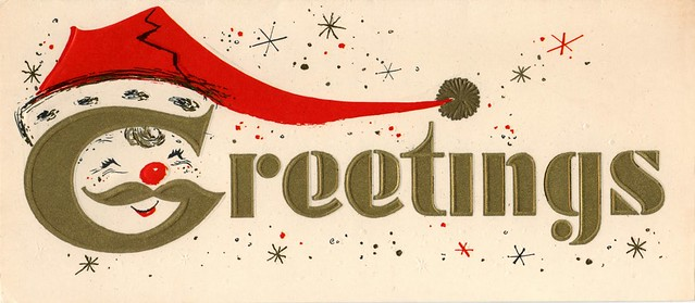 Vintage Christmas Card - Santa Greetings