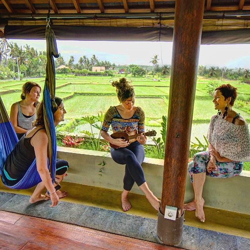 Hangin in the #Yoga #Sanctuary at #Bali Floating Leaf Eco-Luxury Retreat ॐ http://balifloatingleaf.com #ukulele #music #friends #hammock #yogaswing #green  #Yoga #Wellness #detox #Art #luxurytravel #spa #surf #Eco #Retreat #luxury #5star #pool #Meditation