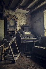 Left in the midst of things... (Taken By Me Photography) Tags: uk light urban cloud house building abandoned clock misty neglect dark lost frozen chair nikon closed time decay farm empty seat exploring father north ruin piano picture grand eerie gone creepy adventure explore takenbyme forgotten date left derelict demolished ue tuition urbex d610