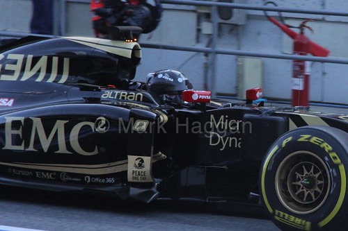 Romain Grosjean in his Lotus in Formula One Winter Testing 2015