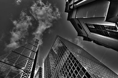 Reaching Ever Upward (Kevin R Thornton) Tags: city england urban bw london architecture blackwhite office unitedkingdom skyscrapper ruby10 ruby5 ruby15 ruby20