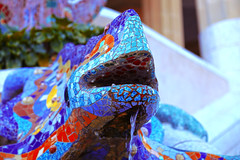 """""""Mythological Creature"""" (Amanda_mb) Tags: barcelona travel blue red green fountain statue canon mouth outdoors photography waterfall spain colorful mosaic vibrant mosaics catalonia lizard colourful creature catalan mythological canon6d 115picturesin2015"""