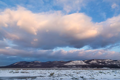 Ridge of Clouds (pidalaphoto) Tags: winter sunset snow mountains ice water clouds river frozen hudsonriver hudsonvalley mountainridge plumpointpark newwindsorny