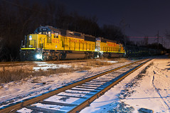UP 1025 in Golden Valley (shawn_christie1970) Tags: railroad snow cold minnesota night train nightshot unitedstates minneapolis unionpacific mir rolledsteel up715 goldenvalleylocal up1025