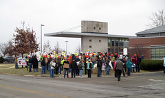 Union workers protest Governor Bruce Rauner speaking at the UIUC I-Hotel because he's a rich pig who cares nothing about workers 3 (benchilada) Tags: pig workers cares who 5 bruce union rich protest governor uiuc about nothing hes because speaking ihotel rauner