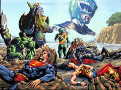 The Justice League got their butts kicked. (kennethkonica) Tags: blue red people usa white men art sports hockey america canon comics painting women midwest action indianapolis indy indiana superman batman dccomics thor justiceleague hoosiers incrediblehulk canonpowershot sx50hs indyfuel hulkmcolor