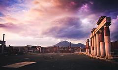 Pompeii, Italy (Nathan O'Nions) Tags: lighting travel italy travelling history clouds photoshop dark volcano amazing ancient ruins europe mood purple roman mark awesome backpacking ii pompeii 5d thunderstorm powerful pompei ancientruins romanruins 5dmarkii
