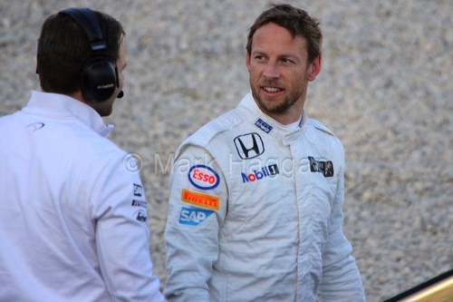 Jenson Button after stopping on track at Formula One Winter Testing 2015
