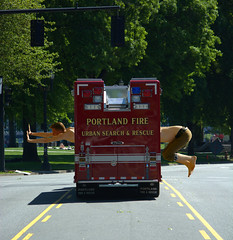 Urban Search And  Rescue (swong95765) Tags: rescue man guy funny humor firetruck stretched outstretched elongated