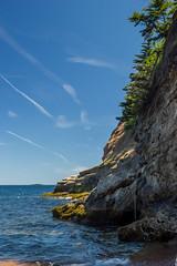 (Melissa Godbout) Tags: capebreton novascotia canada east eastcoast atlantic atlanticocean coast coastal ocean sea cliff fixedropes dauphin capedauphin fairyhole cave sky glooscap