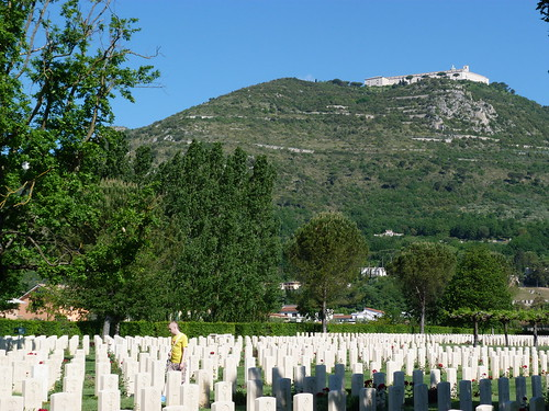 Monte Cassino - the Commonwealth War Cemetery, view to abbey