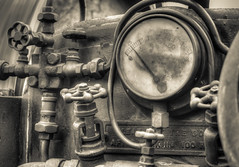 Daresbury traction engine detail 17 HD jul 16 (Shaun the grime lover) Tags: detail monochrome metal sepia warrington traction engine fair steam machinery valve pressure gauge valves hdr boiler pipework gage daresbury halton