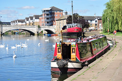 The Embankment (uplandswolf) Tags: swans rivers peterborough narrowboat chineserestaurant rivernene customhouse