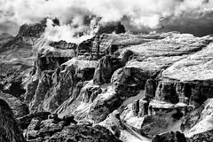 The Fortress... (Ody on the mount) Tags: anlsse berge dolomiten gipfel sellamassiv sdtirol urlaub wanderung wolken bw monochrome sw livinallongodelcoldilana veneto italien it