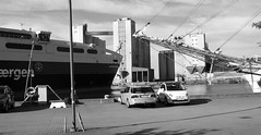 100 Yrs Age Difference (brandsvig) Tags: ystad hamn harbour bw grossherzoginelisabeth skne sweden sverige july 2016 leonorachristina ferry catamaran frja