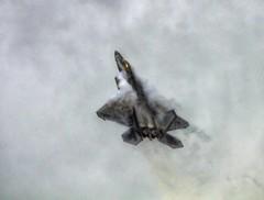 F-22 Raptor (Lens Blur) Tags: sky vortex clouds climb nikon military fluff strong f22 usaf hdr riat raffairford rator 1exp d7000 topazadjust riat2015
