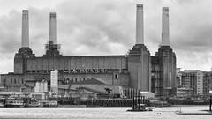 Battersea Power Station (bensonfive) Tags: building london monochrome architecture battersea riverthames batterseapowerstation blackwhitephotography iconicbuildings canon450d