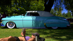 She's A Beauty (swong95765) Tags: lowrider car automobile vintage classic beauty woman tanning reading