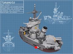Yamamoto back (Dwalin Forkbeard) Tags: lego moc sea ship wowsh battle torpedo turret gun battleship cruiser navy wwii japan