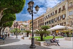 cagliari (heavenuphere) Tags: cagliari sardegna sardinia sardinie italia italy europe island city street square terrace restaurant bench people lantern 24105mm