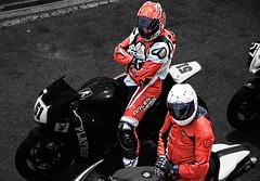 Two motorcyclists. (driver Photographer) Tags:   aprilia cagiva honda kawasaki husqvarna ktm simson suzuki yamaha ducati daytona buell motoguzzi triumph bmv driver motorcycle leathers dainese