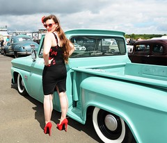 Holly_7256 (Fast an' Bulbous) Tags: classic american car vehicle automobile hotrod sexy girl woman chick babe rockabilly vintage santa pod dragstalgia nikon d7100 gimp high heels long legs hair stockings stilettos people model pinup outdoor