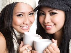 (drpretty) Tags: winter girls friends portrait color cute cup coffee beautiful beauty fashion horizontal closeup lady female sisters studio asian fun happy mugs holding women warm pretty friendship faces tea seasonal joy beverage models relaxing drinking smiles adorable lifestyle happiness pals hotchocolate exotic drinks attractive leisure brunette cheerful caffeine relaxed twopeople girlfriends isolated pleasant sisterhood 20s headandshoulders youngadults