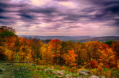 View-From-Mohawk (desouto) Tags: autumn trees red sky orange green nature colors leaves clouds connecticut vista hdr